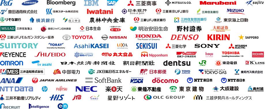 内定先企業の一覧